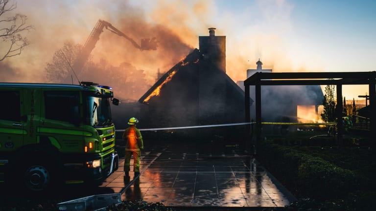 Emergency services battle a fire at Pialligo Estate Farmhouse Restaurant.