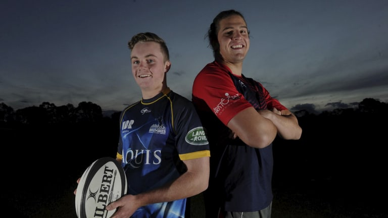 Tuggeranong duo Ryan Lonergan, left, and Ben Hyne have both signed Brumbies contracts.