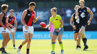 No boundaries:  Eleni Glouftsis becomes the first female field umpire to adjudicate an official AFL match.