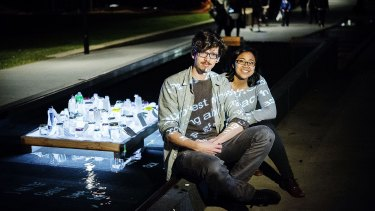 """""""Creatives"""" Andrew Tovey and Brooklyn Sulaeman with their light installation for the BEAMS festival in Chippendale."""