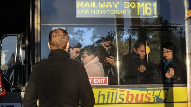 Passengers board at Baulkham Hills.