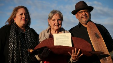 Megan Davis, Pat Anderson from the Referendum Council holding the Uluru statement, and Noel Pearson.