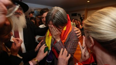 Senator Penny Wong after the result in the same-sex marriage survey is broadcast inside Parliament House.