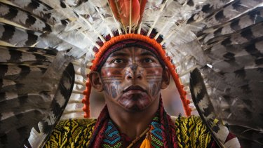 Antonio Borges Serum, of the ethnic group Hunikui from Acre, Brazil, in Puerto Donaldo for the Pope's visit.