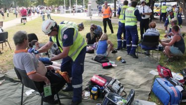 A major triage area was set up at Richmond Oval to assess patients.