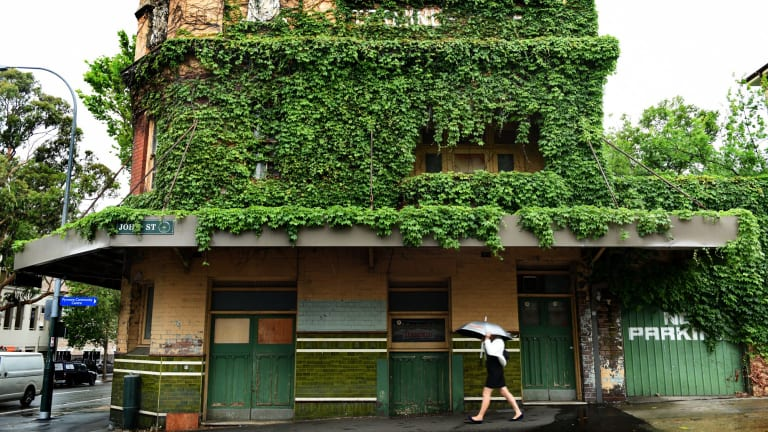 """""""Scariest eviction ever"""": The vacant and overgrown Terminus Hotel in Pyrmont."""
