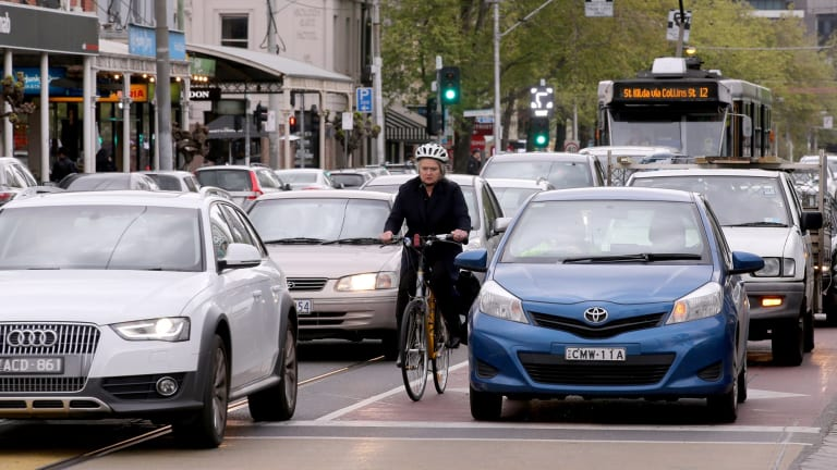 Peak-hour traffic in Clarendon Street, South Melbourne, on Wednesday.