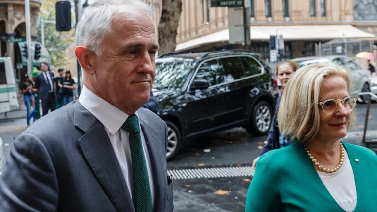 PM Malcolm Turnbull and his wife Lucy Turnbull arrive at the Memorial Service for Bill Leak at Sydney Town Hall.