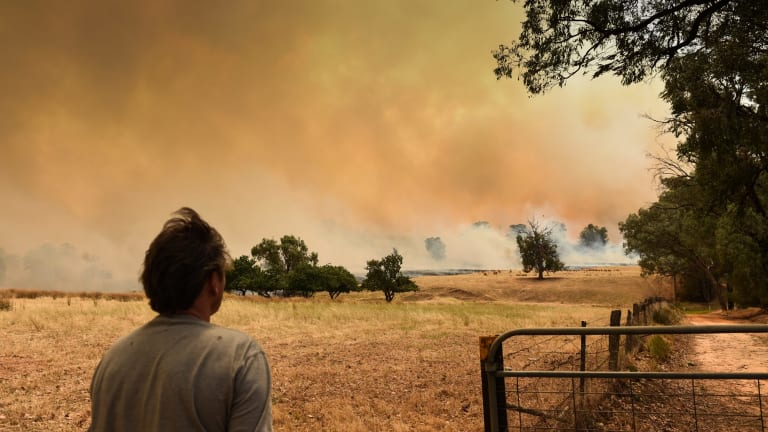 A bush fire near Wodonga, on the NSW border, threatens homes.