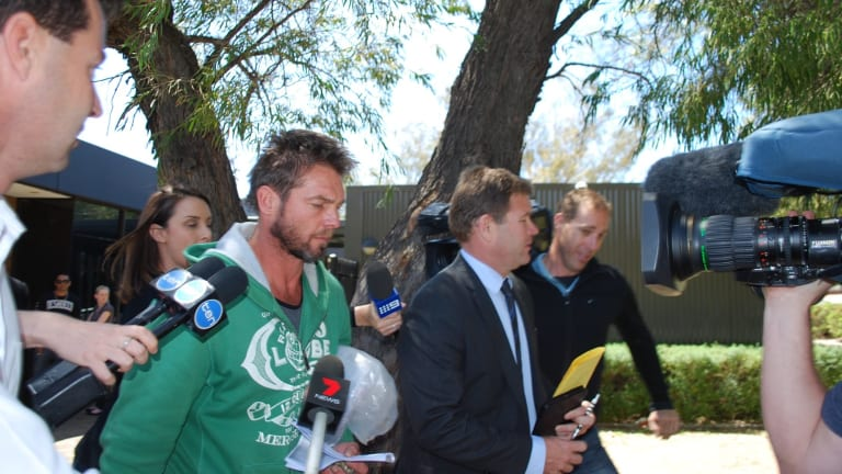Ben Cousins leaving Armadale Magistrates Court in October 2016 after being held by police overnight.