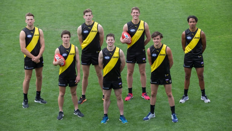 Richmond's new draftees on Monday: (left to right) Noah Balta, Liam Baker, Callum Coleman-Jones, Jack Higgins, Ben Miller, Patrick Naish and Derek Eggmolesse-Smith