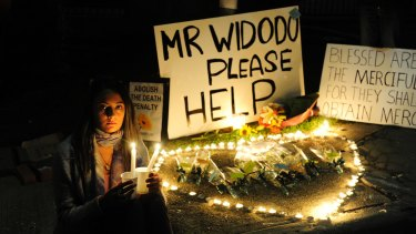 A candlelight vigil outside the Indonesian embassy last week.