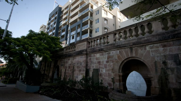 Some of the early Holy Name Cathedral brick work has remained at Cathedral Place in Fortitude Valley.