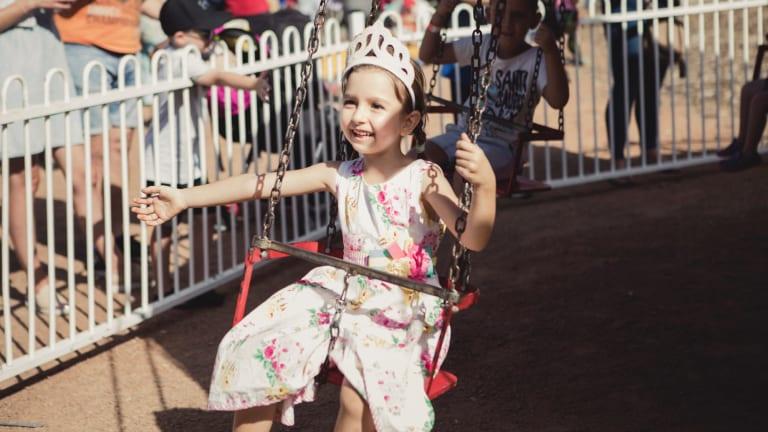 Vera Nikolavea, 5, enjoys the rides.