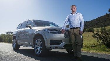 Volvo animal detection expert, Martin Magnusson at Tidbinbilla during Kangaroo detection testing.