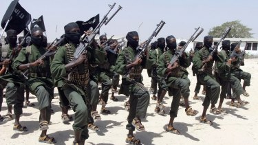Al-Shabaab fighters perform military exercises south of Mogadishu in 2011.
