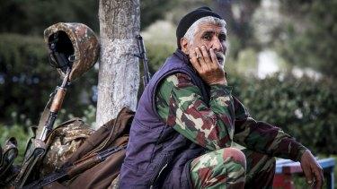 An Armenian volunteer in the separatist Nagorno-Karabakh region.
