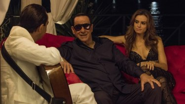 Extended party sequences have caused controversy in Italy: Giovanni Esposito, Toni Servillo and Kasia Smutniak in Loro.