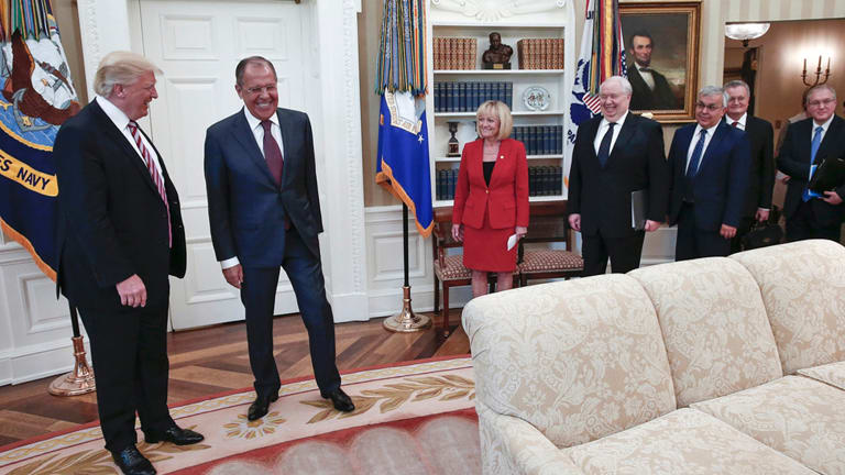 Laughs all round: US President Donald Trump meets with Russian Foreign Minister Sergei Lavrov. Russian ambassador to the US Sergey Kislyak is fourth from left.