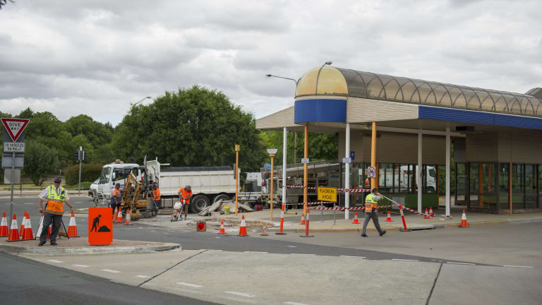 Work continues at the Woden Bus Interchange.