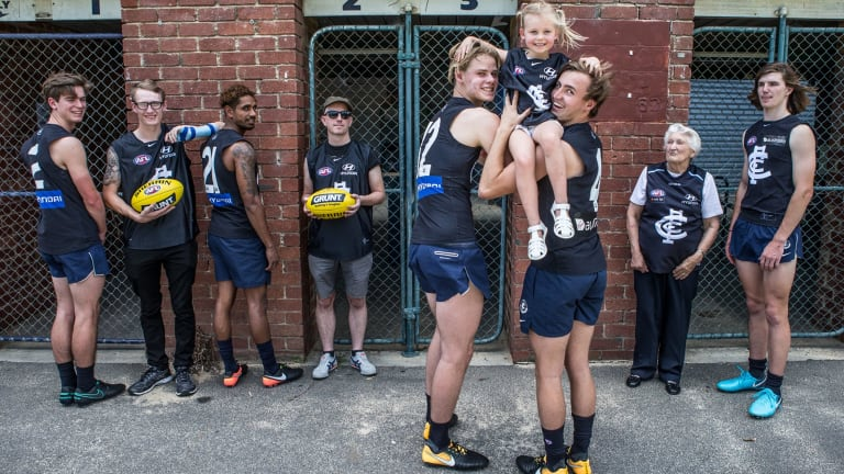 Carlton's recruits with Blues members at Ikon Park on Wedensday.
