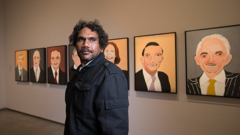 Vincent Namatjira, the great-grandson of renowned Aboriginal painter Albert Namatjira, has painted a series of portraits of the seven most recent prime ministers for the TarraWarra Biennial.