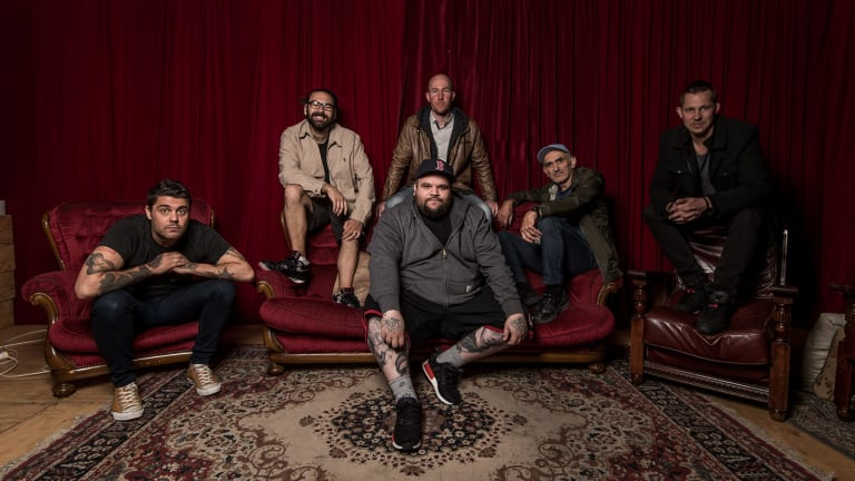 Dan Sultan (left), has enjoyed working with other artists such as Dan 'Trials' Rankine, John Bartlett, Paul Kelly, Paul Bartlett and Adam 'Briggs' Briggs (front),.