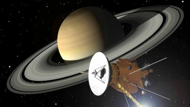 An artists' impression of the Cassini spacecraft approaching Saturn and its rings.