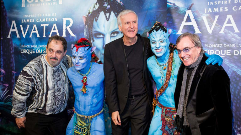 President and CEO of Cirque du Soleil, Daniel Lamarre (right) with Avatar creator James Cameron (middle). China will be one of the markets outside North America to host Cirque's Avatar-inspired show.