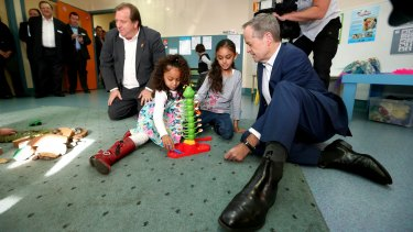 Bill Shorten and Member for McEwen Rob Mitchell at the Sunbury Community Health Centre on Saturday.