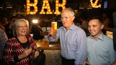 Former assistant innovation minister Wyatt Roy (right) - pictured with Malcolm and Lucy Turnbull - lost his seat Queensland seat.
