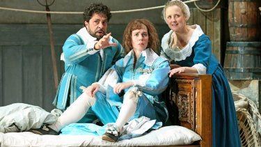 Paolo Bordogna (Figaro), Anna Dowsley (Cherubino) and Taryn Fiebig (Susanna) perform in Opera Australia's <i>The Marriage of Figaro</i>.