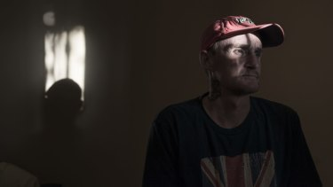 Recovering heroin addict, Mark Avis, 48, at his home in Oaks Estate.