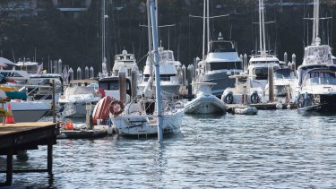 The damaged yacht moored in Rushcutters Bay after the accident.