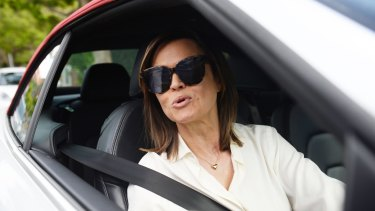 Lisa Wilkinson outside her Sydney home on Tuesday morning.