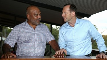 Prime Minister Tony Abbott with Noel Pearson, Chairman of the Cape York Group, during his visit to North East Arnhem Land last year.