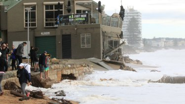 Damage at Collaroy after the coast was hit by high tides on Sunday.