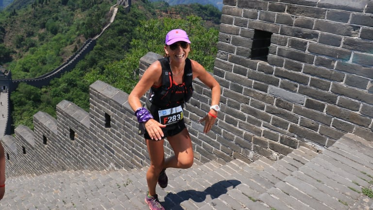 Pip running the Great Wall of China marathon last year.