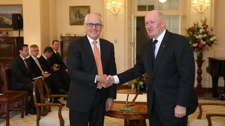 Prime Minister Malcom Turnbull with Governor-General Sir Peter Cosgrove after a swearing-in ceremony where he also became Minister for Agriculture and Water.