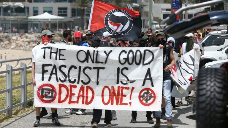 Members of the anti-fascist Antifa group at the anniversary of the Cronulla race riots.