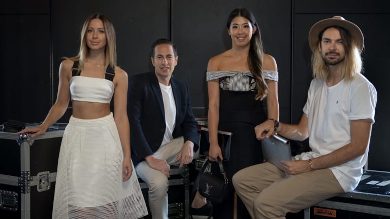 Fashion-focused bloggers: Jasmin Howell (left), Lisa Teh and Thom Whilton (right) with festival chief executive Graeme Lewsey.