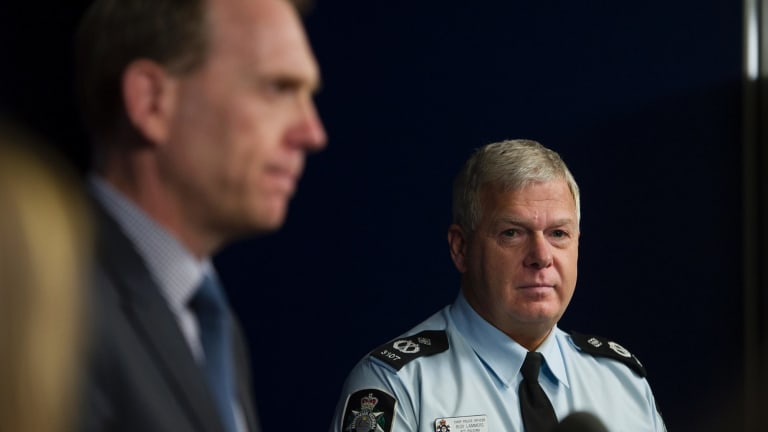 Attorney-General Simon Corbell and Chief Police Officer Rudi Lammers.