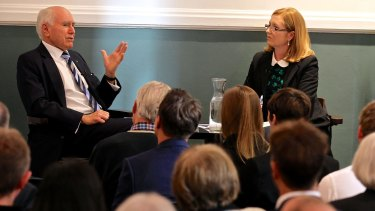 Former prime minister John Howard, pictured with Adele Ferguson, said being resilient and learning from mistakes are among the most important attributes for leaders.