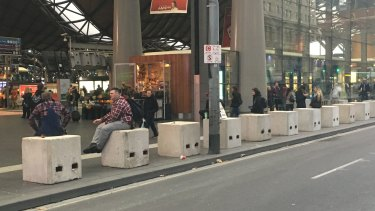 Bollards at Southern Cross have been immediately adopted as public seating.