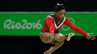 US gymnast Simone Biles competing at the Rio Olympics.