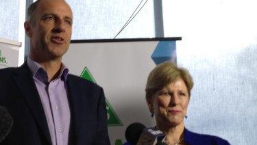 New Greens senator Nick McKim and Christine Milne at the announcement.