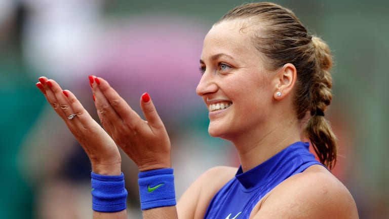 Petra Kvitova thanks the crowd during her return to grand slam competition in 2017.