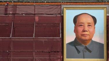 The portrait of Mao Zedong during a refurbishing on Tiananmen Gate in Beijing.