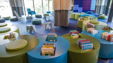 """The """"nest"""", the children's section on the first floor, features furnishings designed to resemble The Very Hungry Caterpillar."""