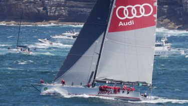 Wild Oats XI heads out of Sydney Heads at the start of the Sydney To Hobart in 2016.